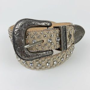 Guess Small Embellished off-white belt studded